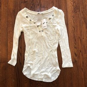 William Rast Long Sleeve Lace Front Shirt NWT